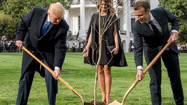 Przed rozmowami o m.in. Iranie prezydenci Trump i Macron zasadzili w ogrodzie przed Białym Domem dąb spod Belleau we Francji, gdzie podczas I wojny światowej zginęło 9 tys. amerykańskich żołnierzy.