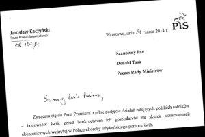 """Trzy pytania do Tuska. Kaczyński napisał list do premiera ws. pomoru świń. """"Rolnicy się skarżą, rząd zostawił ich samych"""""""