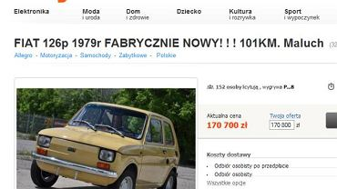 Fiat 126p wystawiony na aukcji