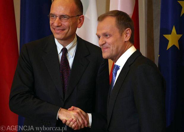 Premier Polski Donald Tusk i szef rz�du W�och Enrico Letta