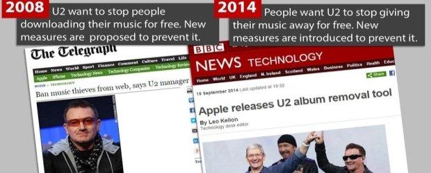 """Rok 2008: U2 chce odcina� """"pirat�w"""" od sieci. Rok 2014: U2 rozdaje p�yt� za darmo, a ludzie jej nie chc�"""