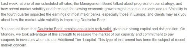 Fragment listu prezesa Deutsche Bank do pracowników. Prezes zapewnia, że bank jest stabilny jak skała.