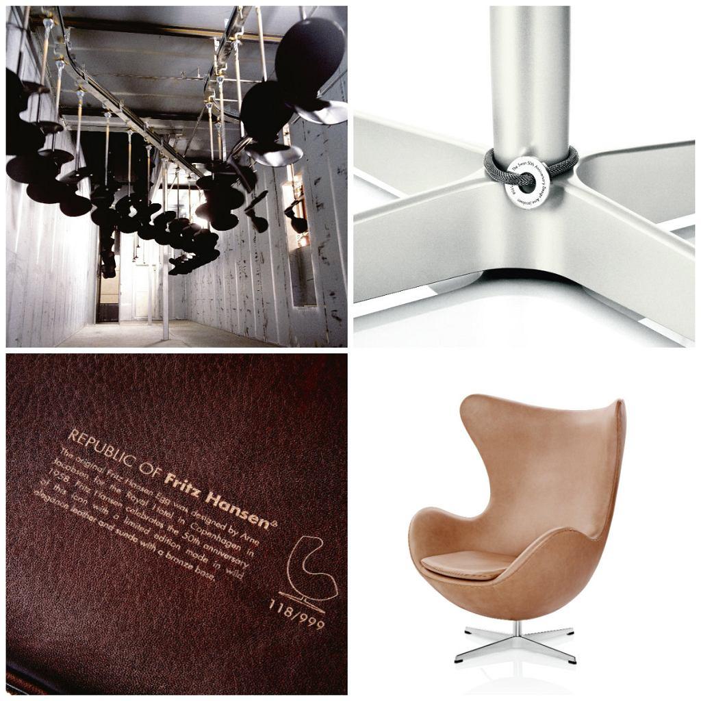 1. Produkcja krzesła Ant. 2. Krzesło Swan z edycji jubileuszowej można rozpoznać po specjalnej opasce na nodze. 3. Wytłaczana numeracja fotela Egg. 4. Fotel Egg projektu Arnego Jacobsena często jest nieudolnie podrabiany.