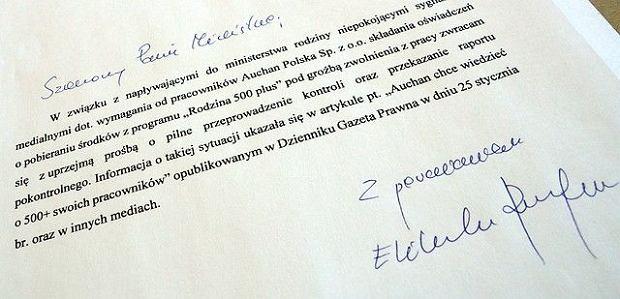 Pismo minister Rafalskiej