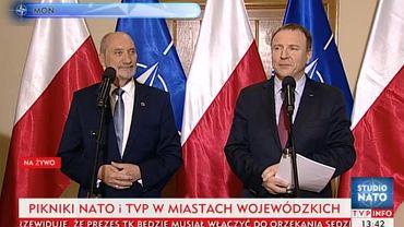 Antoni Macierewicz i Jacek Kurski w telewizji przedstawili program pikników TVP i NATO w weekend w całej Polsce