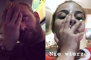 Borys Szyc i Julia Wieniawa po meczu Polska - Kolumbia