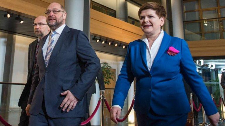 Premier Beata Szydło i przewodniczący PE Martin Schulz