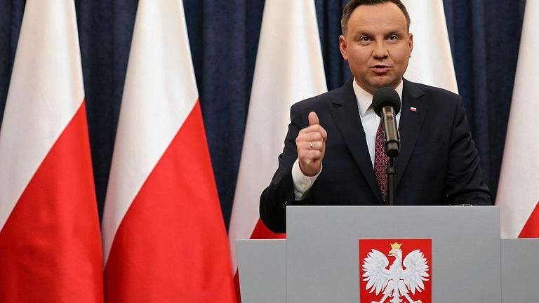 Prezydent Andrzej Duda podczas oświadczenia ws. ustaw o KRS i SN (fot. Sławomir Kamiski / Agencja Gazeta)