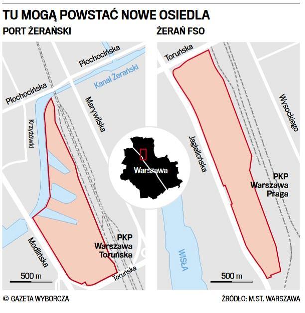 Rejony na Żeraniu, w których ratusz chce dopuścić budowę osiedli mieszkaniowych