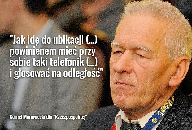 Kornel Morawiecki chciałby głosować z ubikacji