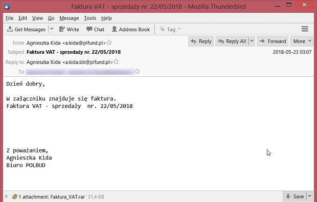 Wirus infekuje przez fałszywy e-mail