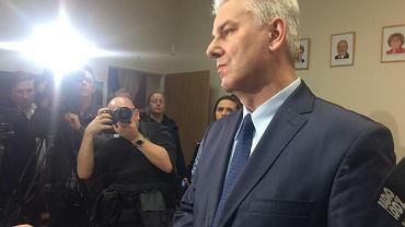 Cezary Grabarczyk podczas konferencji prasowej 12 marca 2018 roku.
