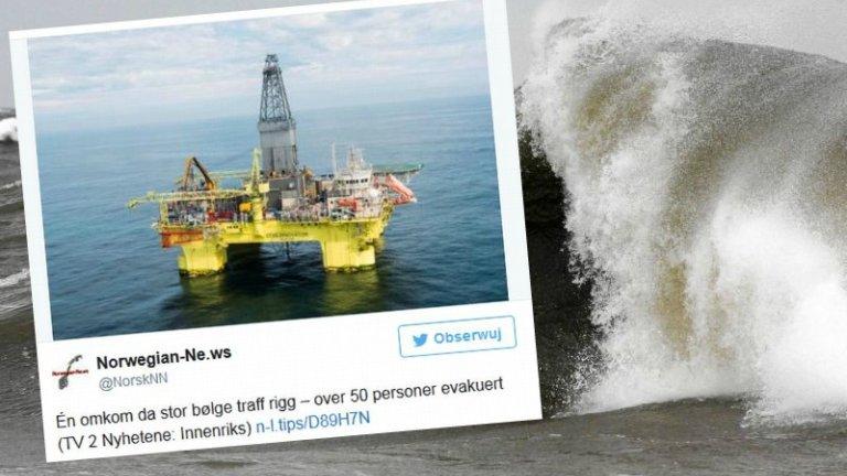 Wielka fala uderzyła w platformę na Morzu Północnym
