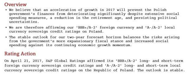 Decyzja S&P ws. ratingu Polski
