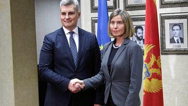 Szefowa unijnej dyplomacji Federica Mogherini i przewodniczący czarnogórskiego parlamentu Ivan Brajović. Podgorica, 1 marca 2017 r.