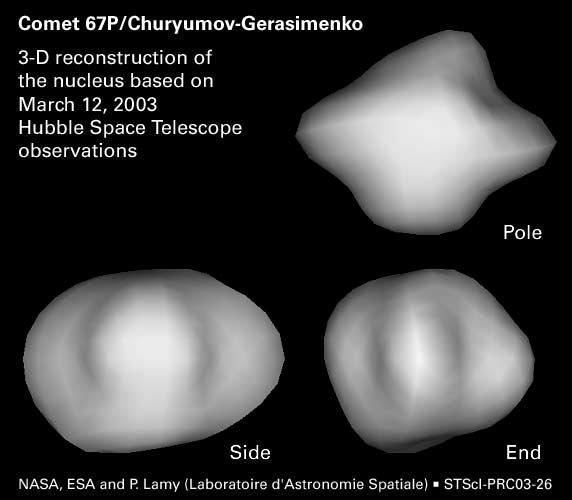 Rekonstrukcja jądra komety 67P dokonana na podstawie obserwacji z teleskopu Hubble'a.