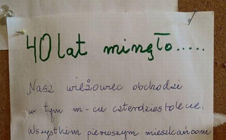 Ogłoszenie powieszone w jednym z gdańskich bloków