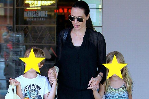 Angelina Jolie z dzie�mi, Vivienne i Knoxem, na zakupach