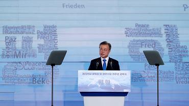 15.08.2018, Seul, prezydent Korei Południowej Moon Jae In  przemawia w 73. rocznicę wyzwolenia spod japońskiej okupacji.