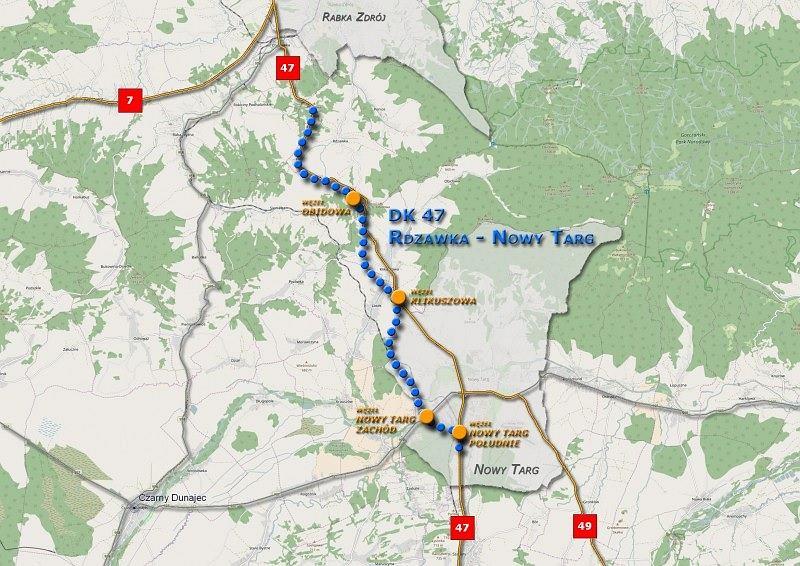 Trasa nowego fragmentu drogi krajowe 47