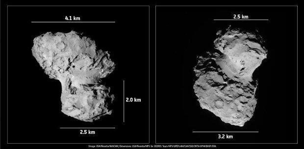 Wymiary jądra komety 67P