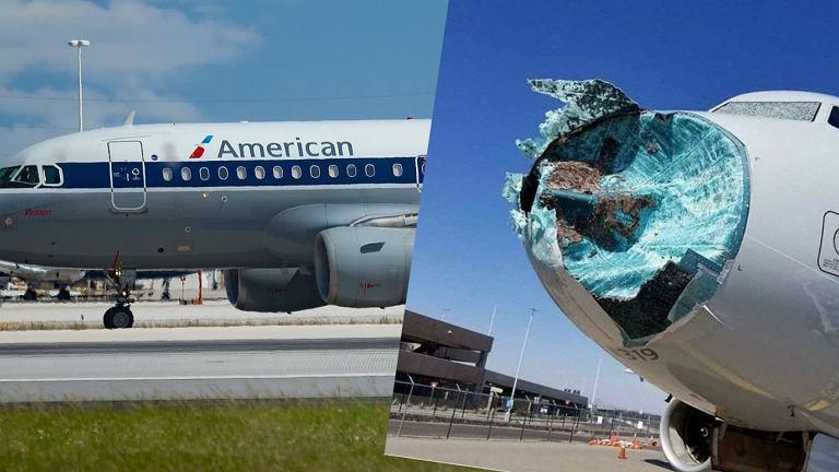 Samolot  American Airlines zniszczony po przelocie przez burzę