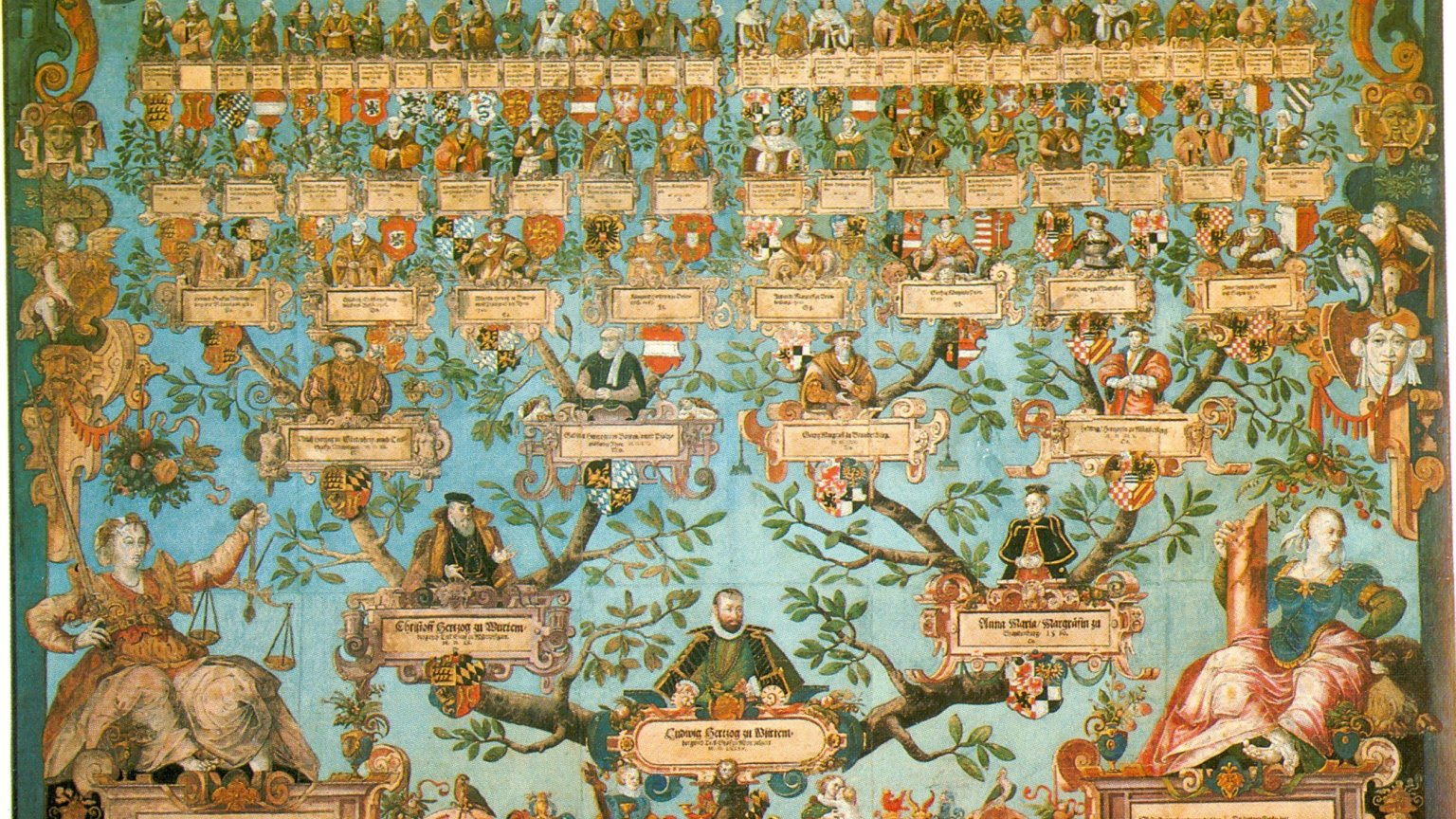 Drzewo genealogiczne Ludwika Pobożnego (1554 -1593), księcia Wirtembergii.