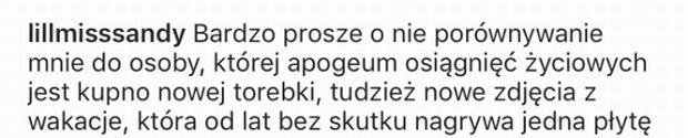 Wpis na profilu Sandry Dziwiszek