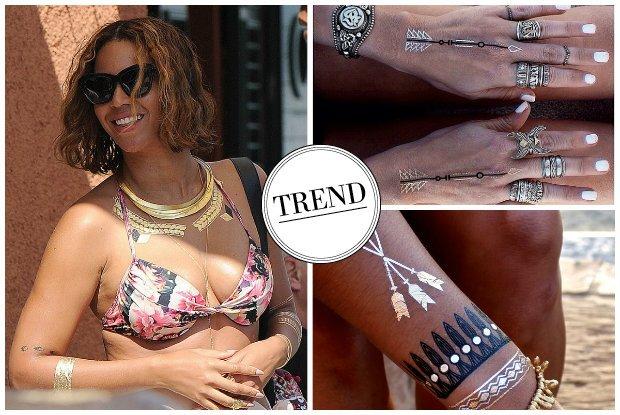 Beyonce pokocha�a zmywalne tatua�e! B�yszcz�ce dekoracje mog� z powodzeniem zast�pi� bi�uteri�