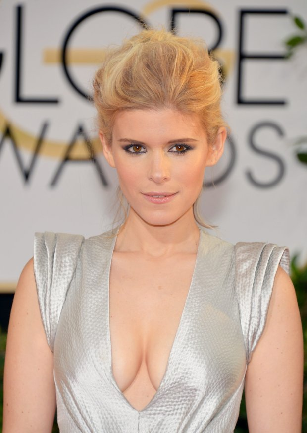 Kate Mara arrives at the 71st annual Golden Globe Awards at the Beverly Hilton Hotel on Sunday, Jan. 12, 2014, in Beverly Hills, Calif. (Photo by John Shearer/Invision/AP)