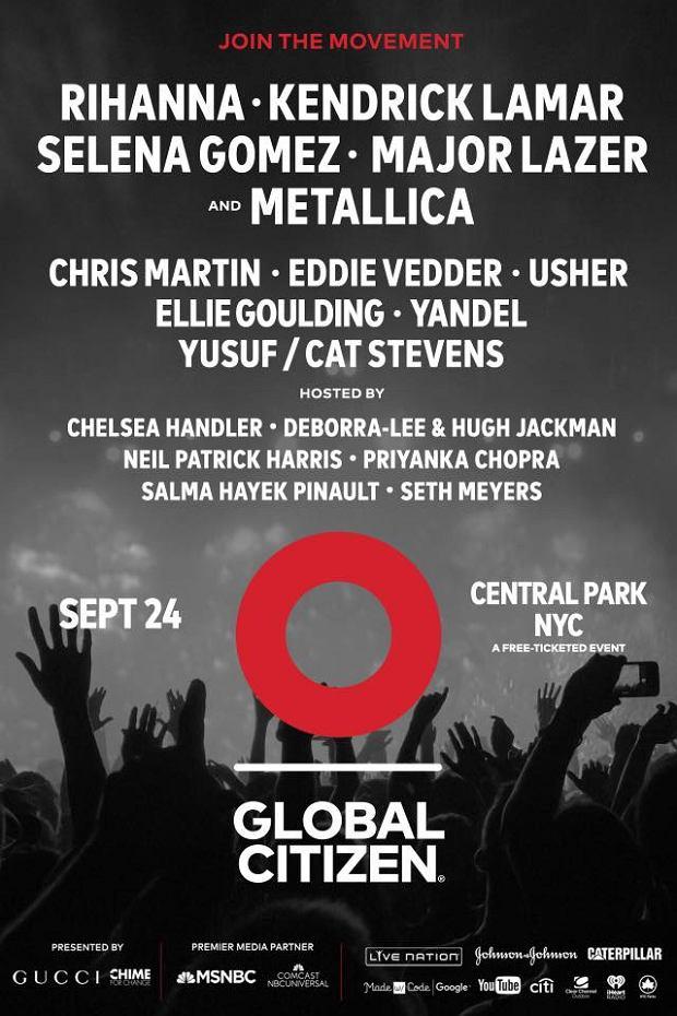Tegoroczny lineup Global Citizen Festival nie zawodzi! Wśród headlinerów Rihanna, Metallica, Kendrick Lamar i Major Lazer.