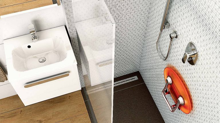 Składane siedzisko, tworzywo sztuczne i stal, udźwig 150 kg, nadaje się również np. do przedpokoju lub na balkon, wzór, Ravak
