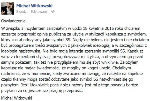 Oświadczenie Michała Witkowskiego