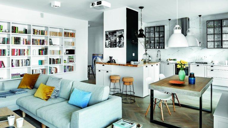 Kuchnia to udany miks nowoczesnego wnętrza z nutą skandynawskiej przytulności i z industrialnymi akcentami.