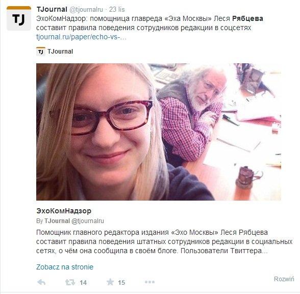 """""""Echo Moskwy"""" idzie na ugod�. M�oda Lesia ustali, co wolno rosyjskim dziennikarzom w sieci"""