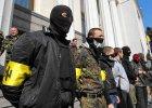 Cz�onkowie ukrai�skiego skrajnie nacjonalistycznego Prawego Sektora
