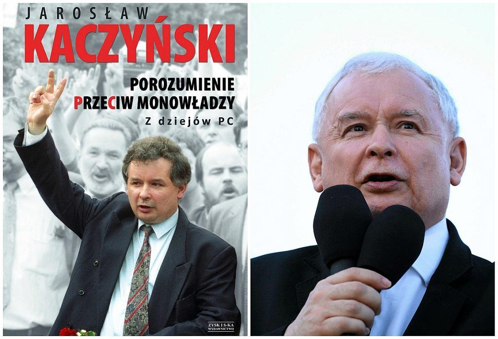 Okładka autobiografii Jarosława Kaczyńskiego i prezes PiS w 2016 r. (fot. Wyd. Zysk i S-ka/Adam Stępień/AG)
