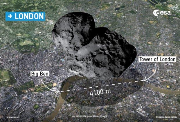 Porównanie rozmiarów komety i Londynu.