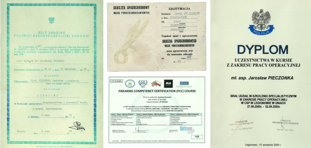 Po lewej dokumenty związany z pracą w kontrwywiadzie.Po prawej u góry Legitymacja Skoczka Spadochronowego Wojsk Powietrznodesantowych (WPD), uprawniająca do noszenia odznaki skoczka spadochronowego WPD, tzw. gapy. Dokumentuje 15 oddanych skoków w latach 1985-1986. Na dole licencja uprawniająca do pracy z długą bronią jako ochroniarz statków na wodach międzynarodowych  (fot.archiwum prywatne)