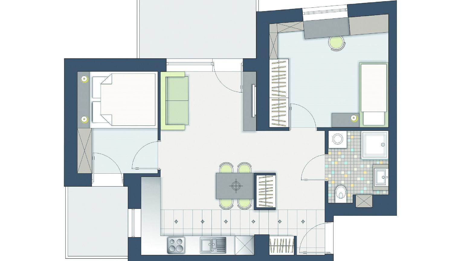 52 m kw jak wydzieli dodatkowy pok j w dwupokojowym mieszkaniu. Black Bedroom Furniture Sets. Home Design Ideas