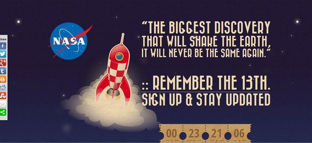 rememberthe13th.com ma ponoć zaprezentować przełomowe okdrycie NASA. Nie wierzmy w to!