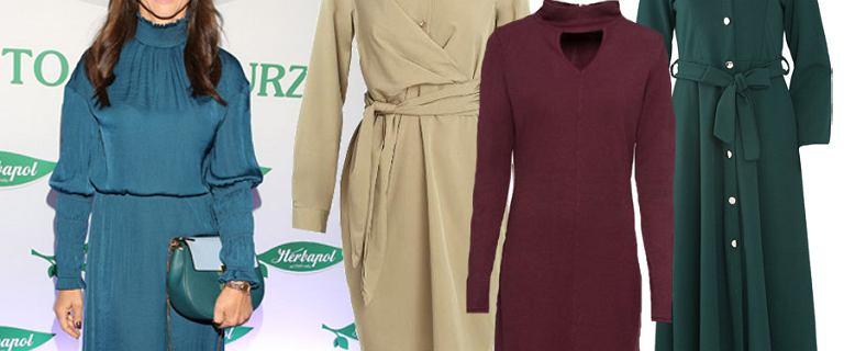 Kolory jesieni 2018. Zielone, bordowe i brązowe sukienki do pracy i na co dzień. My wybieramy te w stylu Jessiki Mercedes