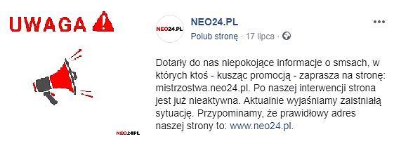 Neo24.pl odcina się od subdomeny mistrzostwa.neo24.pl