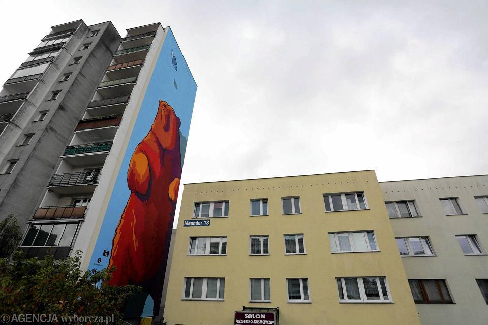Wielki nied wied na cianie bloku na ursynowie zdj cia for Mural ursynow