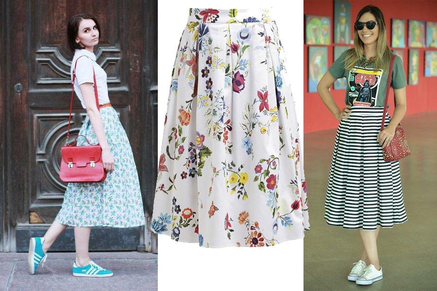 d110c85cd1c37 Kolorowa spódnica midi na luzie: pomysły na codzienne stylizacje