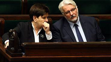 Minister spraw zagranicznych w rządzie PiS Witold Waszczykowski i premier Beata Szydło. Sejm, 10 luty 2017
