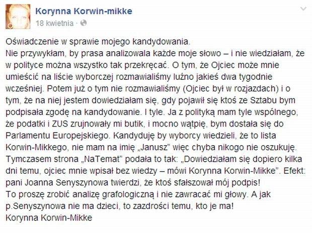 Oświadczenie na Facebooku Korynny Korwin-Mikke
