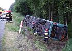5 os�b ci�ko rannych w wypadku autokaru z wycieczk� szkoln� na DK1