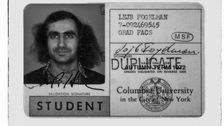 Lejb Fogelman na legitymacji Columbia University