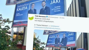 Wybory samorządowe 2018 w Warszawie. Błąd ortograficzny na plakacie wyborczym